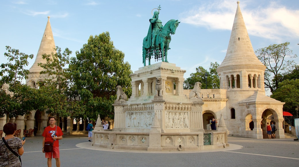 Fisherman\'s Bastion featuring a square or plaza and a statue or sculpture