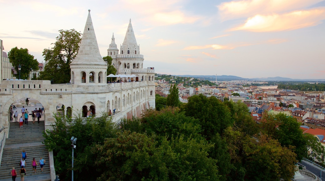 Fisherman\'s Bastion featuring heritage architecture, a city and a castle
