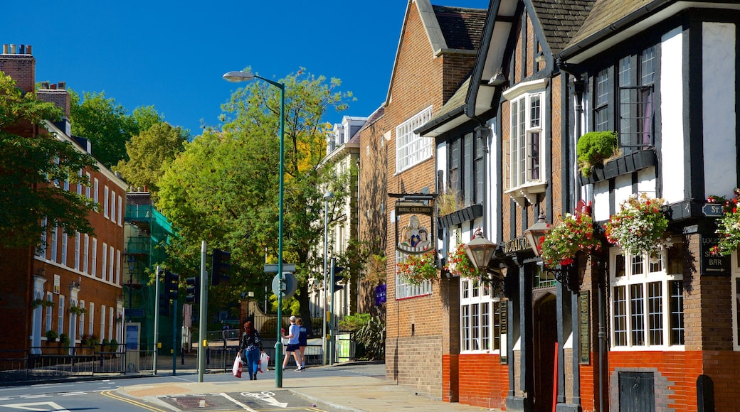 Nottingham showing street scenes, a hotel and heritage elements
