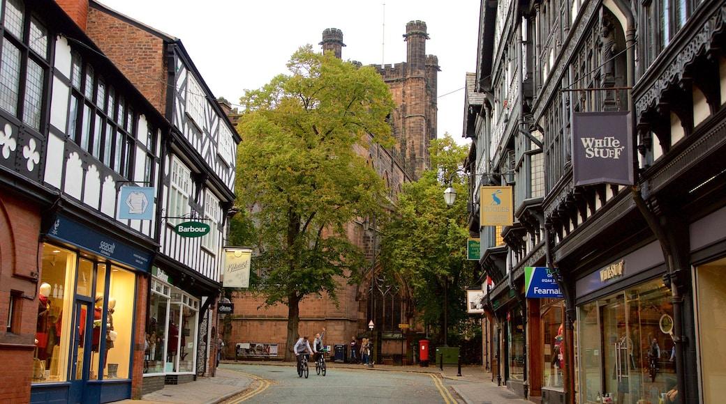 Chester Cathedral mit einem Kirche oder Kathedrale, Beschilderung und Stadt