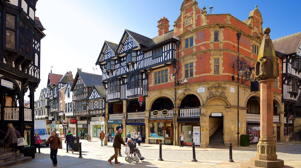Chester featuring a square or plaza, heritage elements and a city