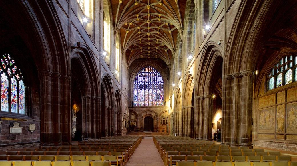 Chester Cathedral das einen Innenansichten, historische Architektur und religiöse Aspekte