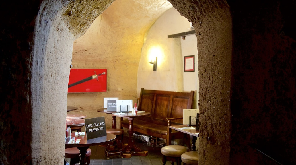 Ye Olde Trip to Jerusalem featuring a bar, heritage elements and interior views