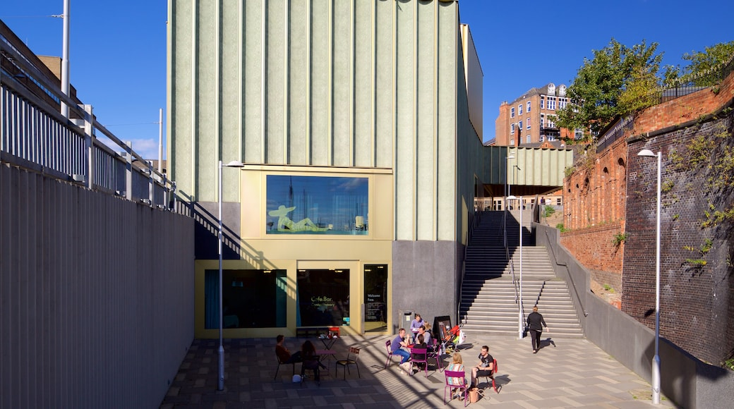Nottingham Contemporary showing outdoor eating as well as a small group of people