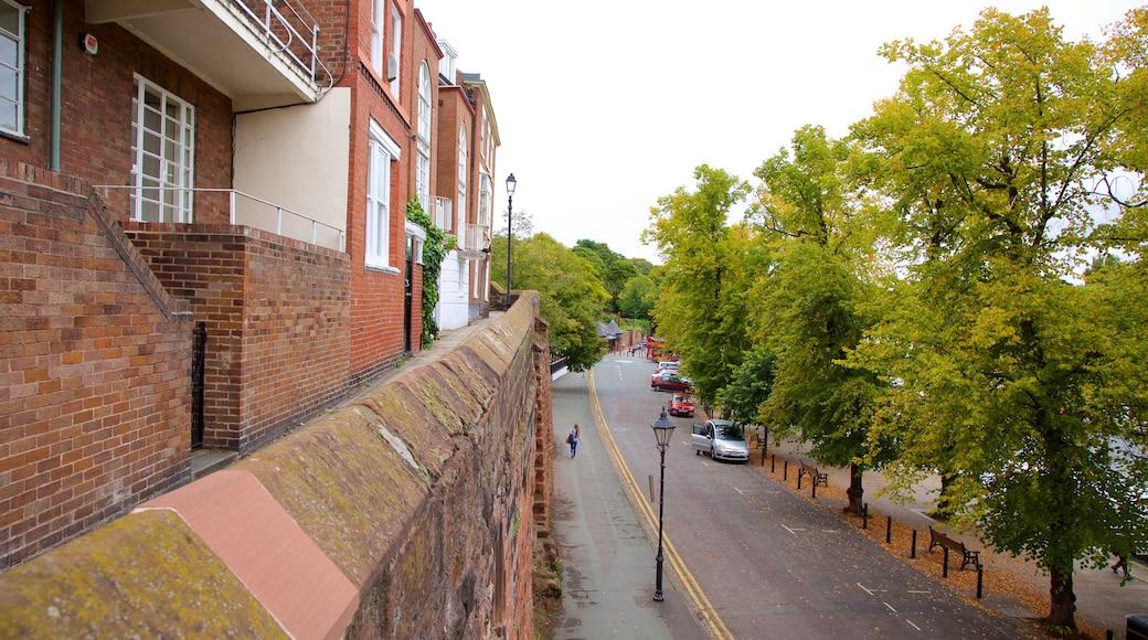Chester City Walls welches beinhaltet Straßenszenen und Geschichtliches