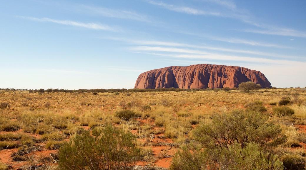 Uluru showing landscape views and desert views
