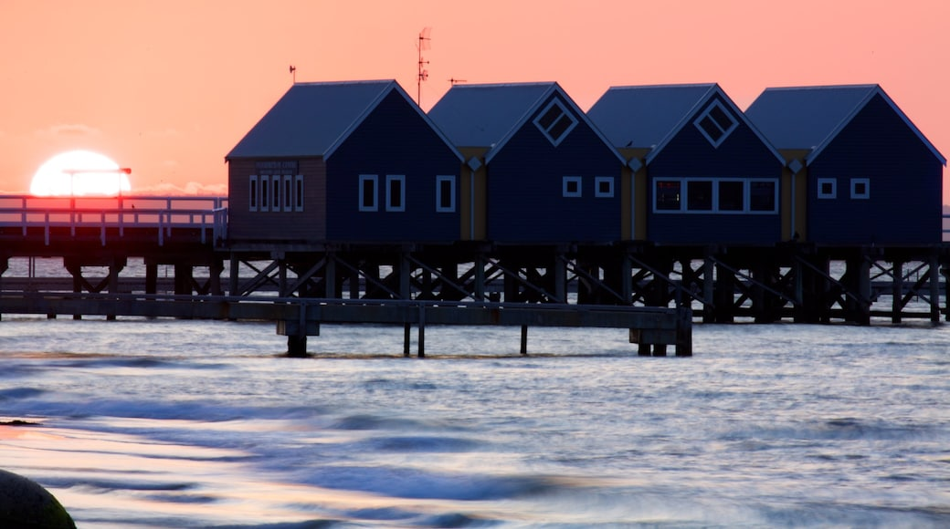 Busselton Jetty showing general coastal views and a sunset
