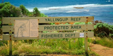 Yallingup showing rocky coastline and signage