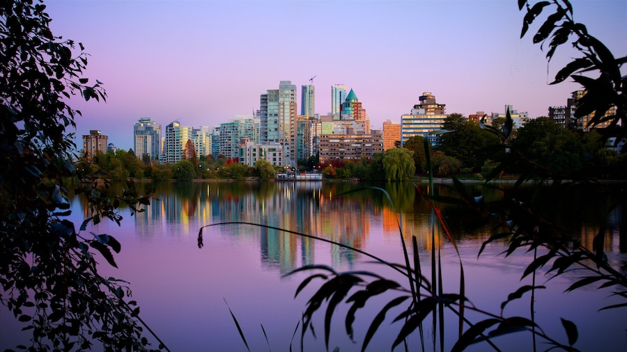 Stanley Park showing a river or creek and a city