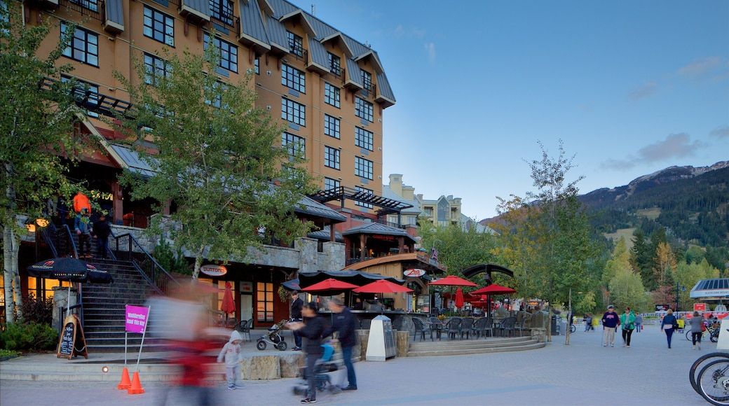 Whistler Blackcomb Ski Resort showing a square or plaza and a luxury hotel or resort