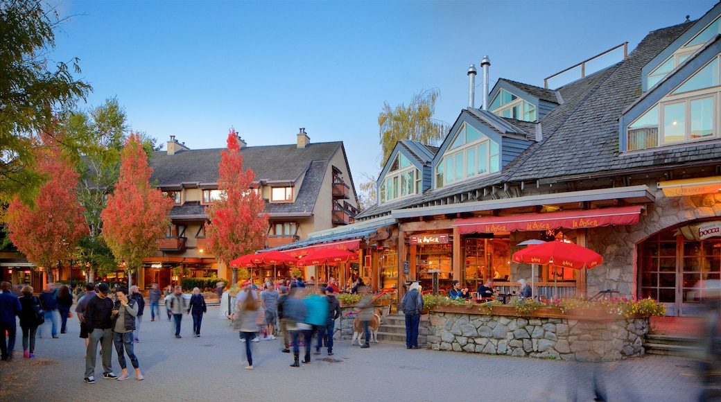 Whistler Blackcomb Ski Resort featuring a luxury hotel or resort, autumn leaves and a square or plaza