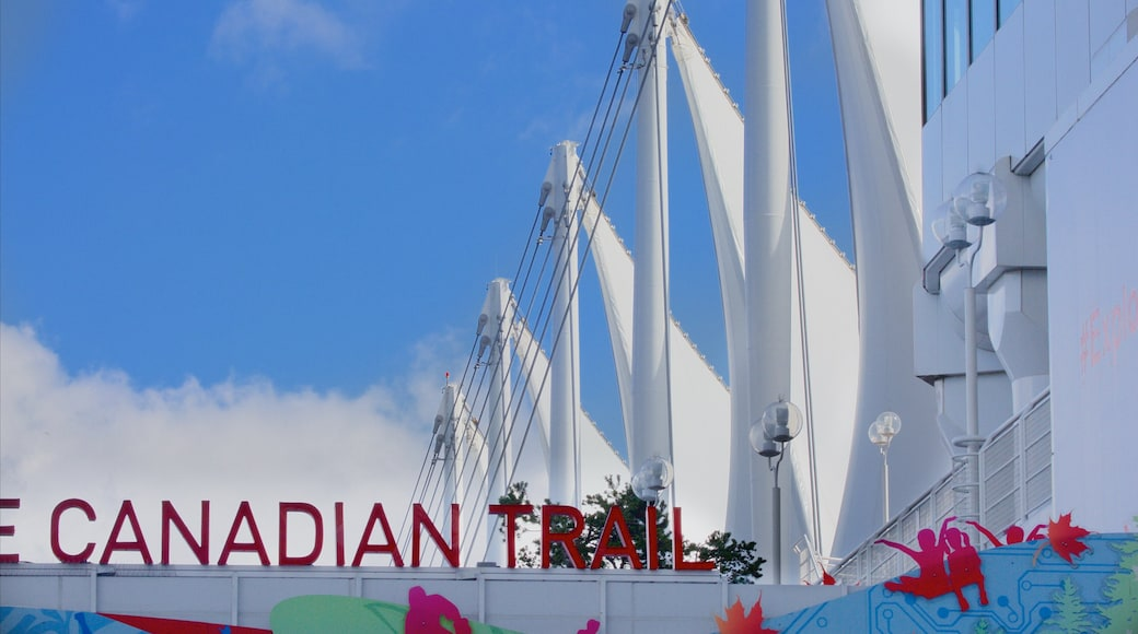 Canada Place showing signage and modern architecture