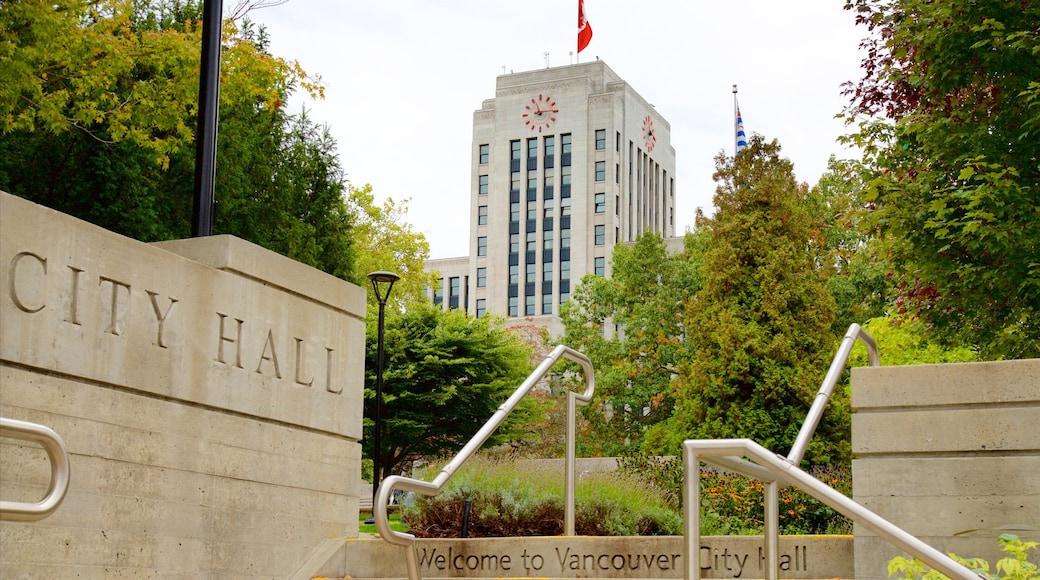 Vancouver das einen Beschilderung, Verwaltungsgebäude und Garten