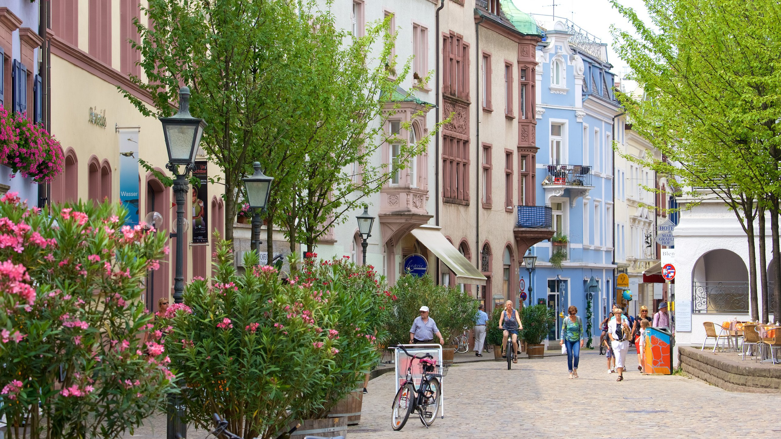 Freiburg which includes street scenes