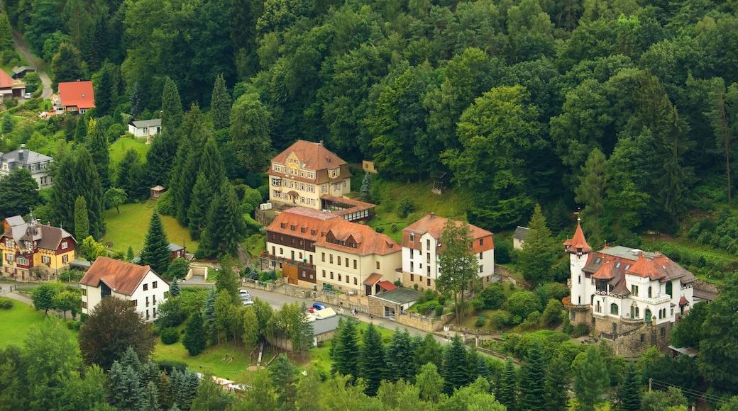 Nationalpark Sachsische Schweiz som viser en lille by eller en landsby