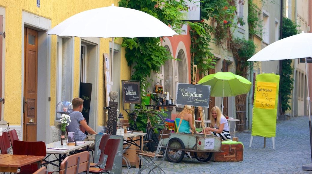Lindau mit einem Beschilderung, Kleinstadt oder Dorf und Straßenszenen