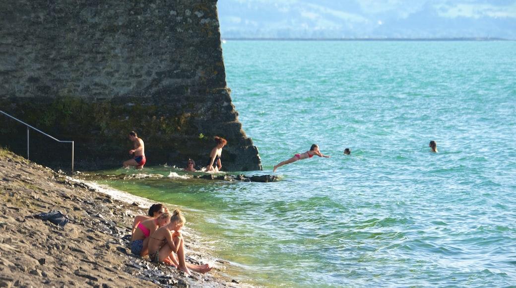 Lindau welches beinhaltet schroffe Küste sowie kleine Menschengruppe