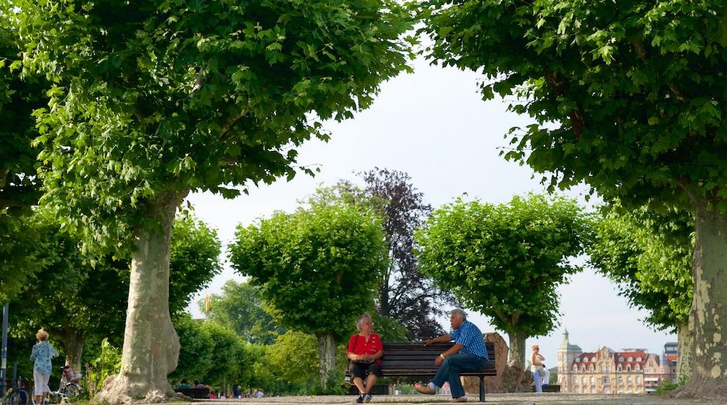 Hafen von Konstanz mit einem Park sowie kleine Menschengruppe