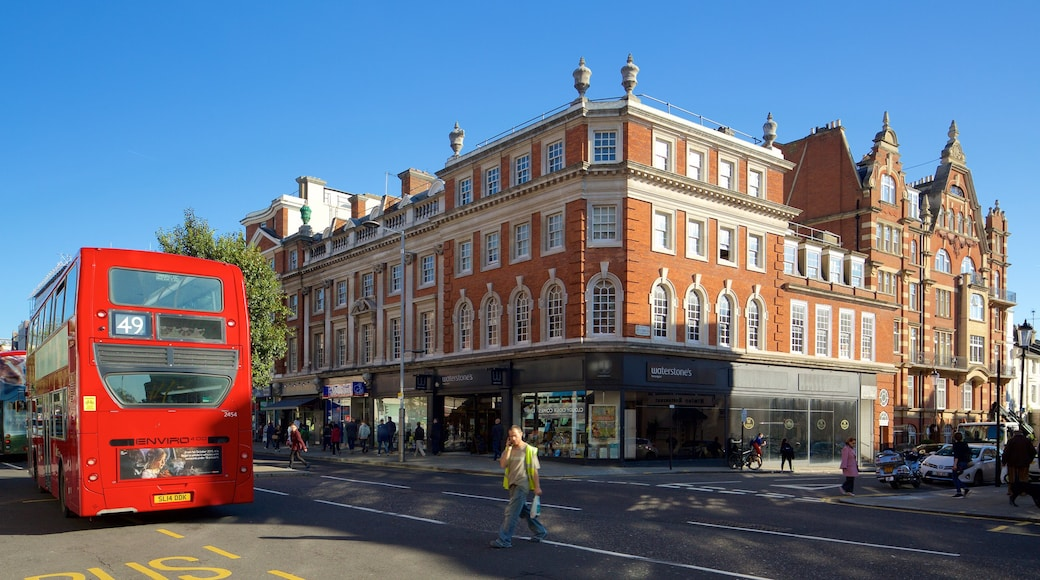Kensington High Street showing heritage architecture and street scenes