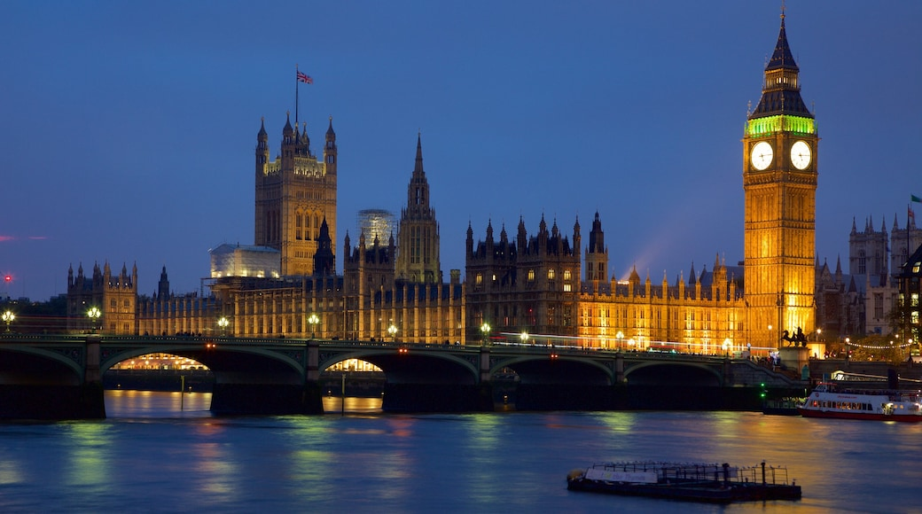 Houses of Parliament featuring a bridge, night scenes and a river or creek