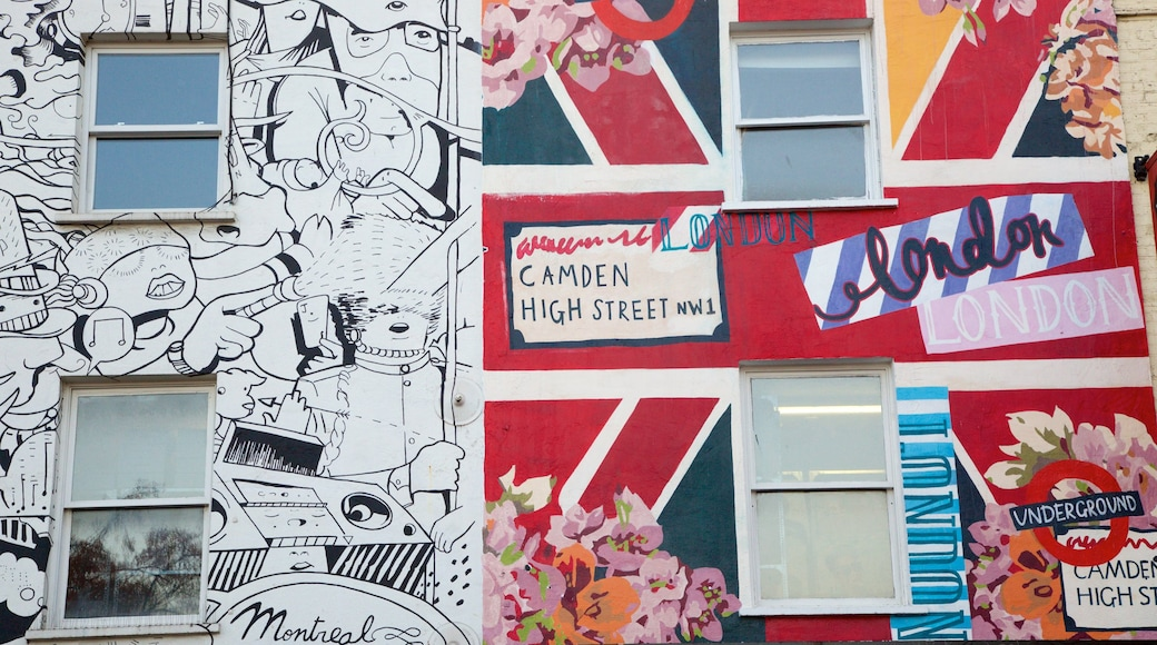Camden High Street which includes outdoor art
