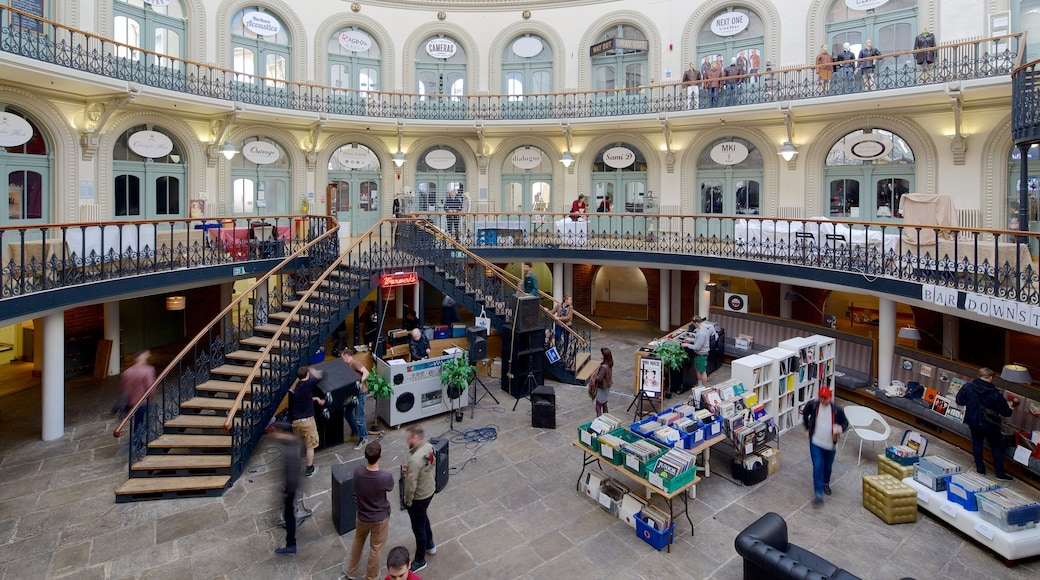 Corn Exchange showing heritage architecture and interior views as well as a small group of people