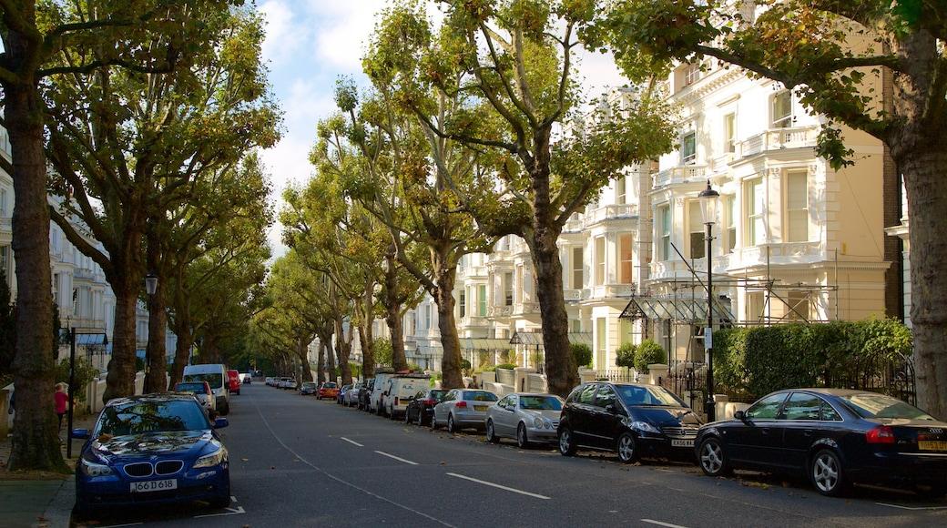Holland Park-distriktet som inkluderer gatescener og historisk arkitektur