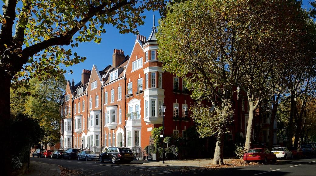 Holland Park-distriktet som viser historisk arkitektur og gatescener