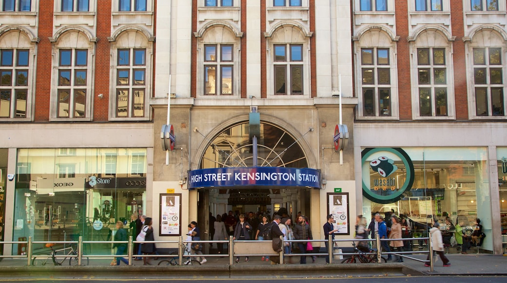 Kensington High Street which includes street scenes, signage and heritage architecture