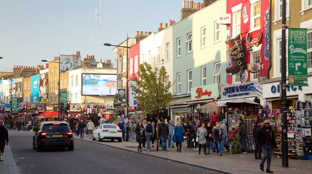 Camden High Street showing shopping, street scenes and signage