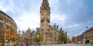 Sheffield Town Hall which includes heritage architecture and street scenes