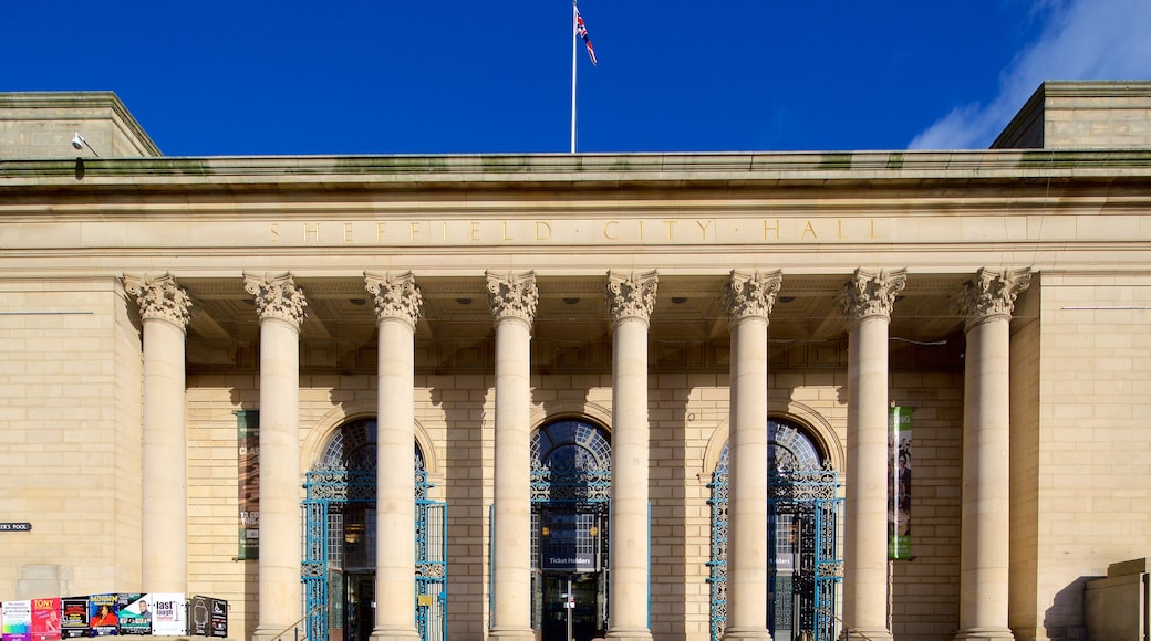 Sheffield City Hall showing heritage architecture and an administrative building