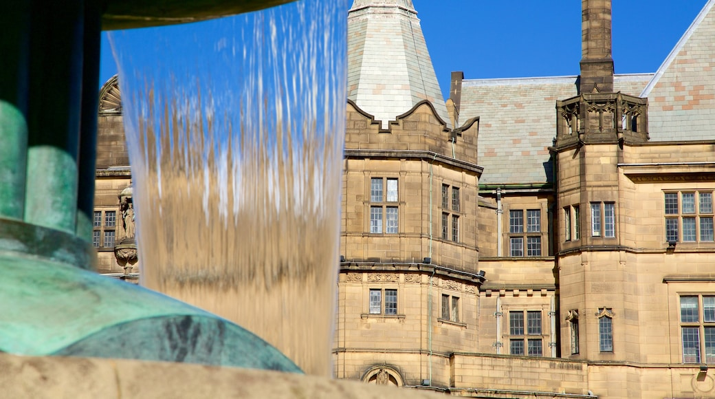 Sheffield Town Hall featuring a fountain and heritage architecture