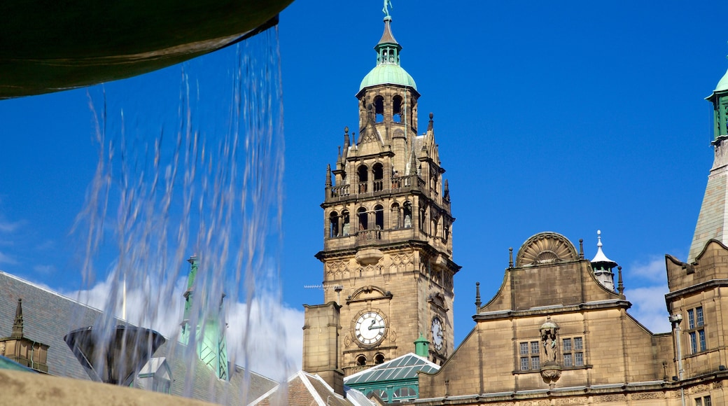 Sheffield Town Hall which includes heritage architecture and a fountain
