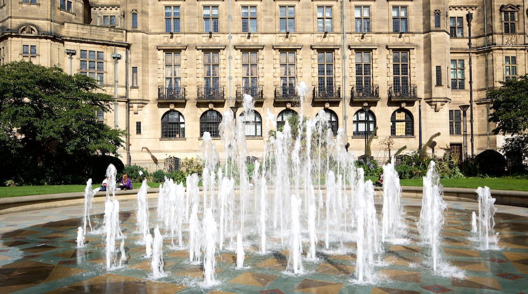 Sheffield Town Hall showing heritage architecture and a fountain