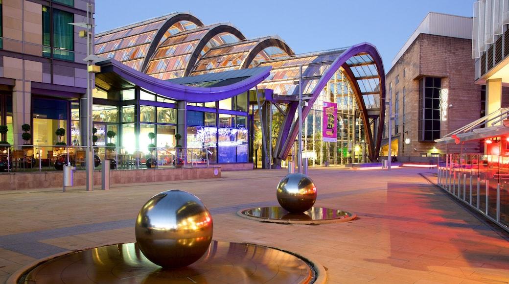 Sheffield Winter Garden showing modern architecture and outdoor art