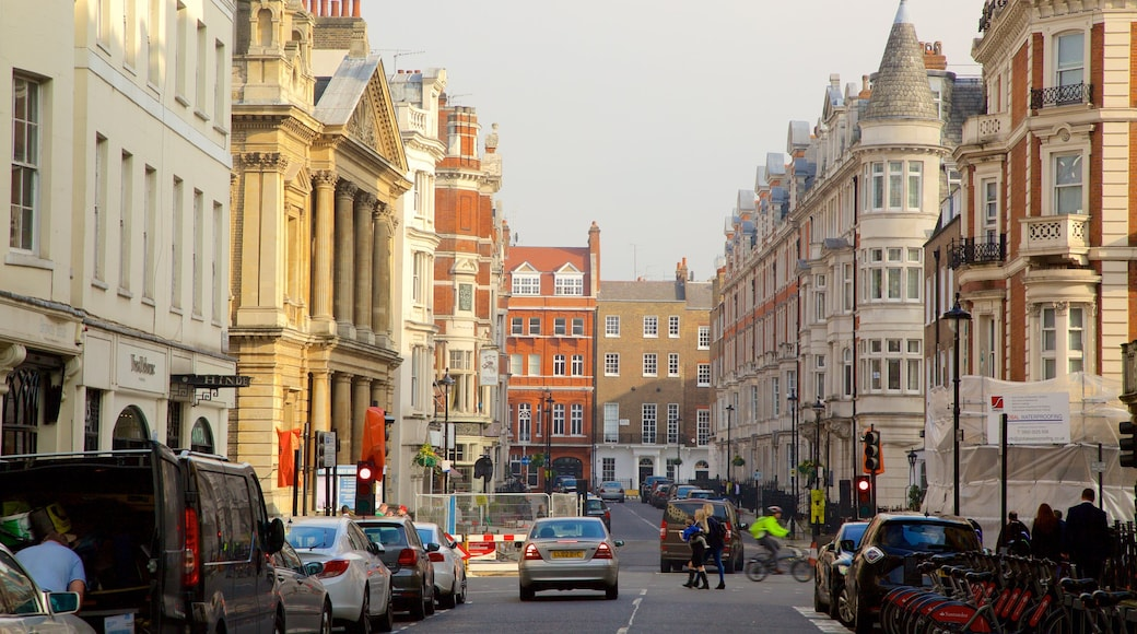 Marylebone featuring street scenes and heritage architecture