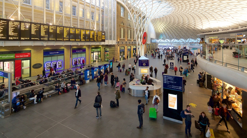 Kings Cross St. Pancras showing heritage architecture, modern architecture and interior views