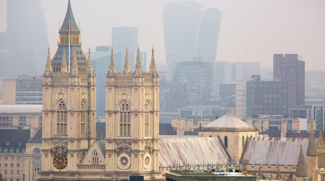 Westminster Abbey which includes a castle and heritage architecture