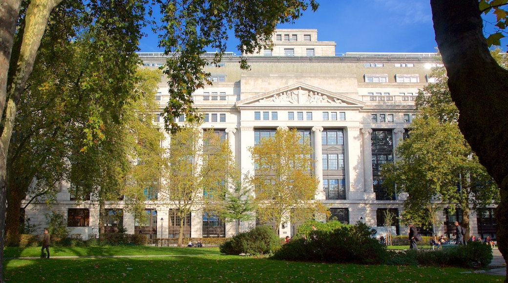 Bloomsbury Square which includes a square or plaza, heritage architecture and a garden