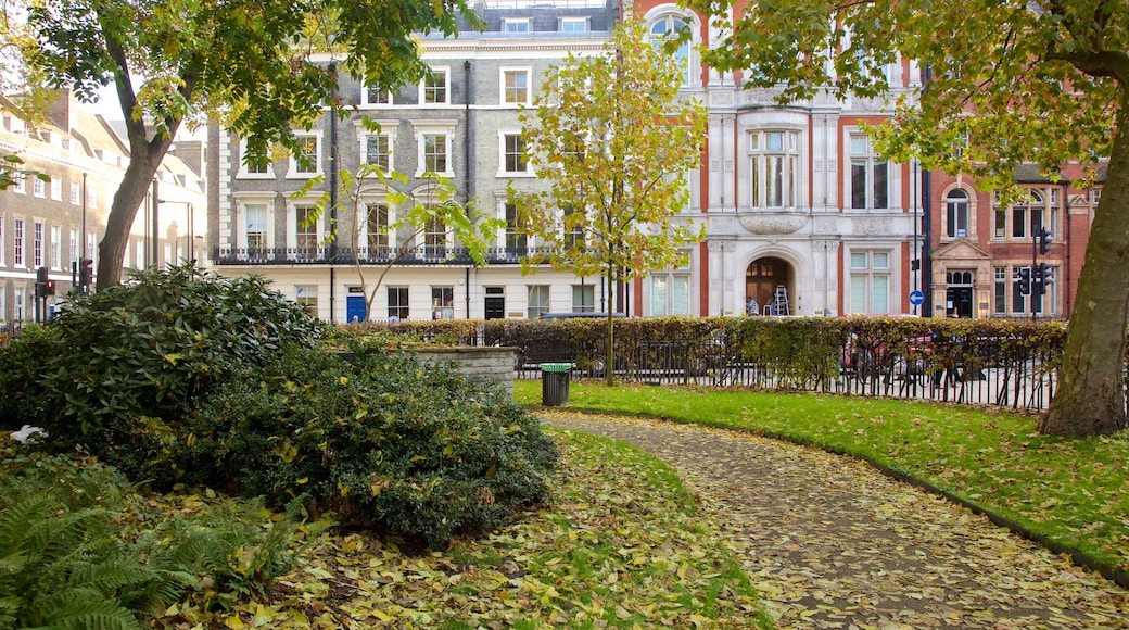 Bloomsbury Square showing a square or plaza and a park