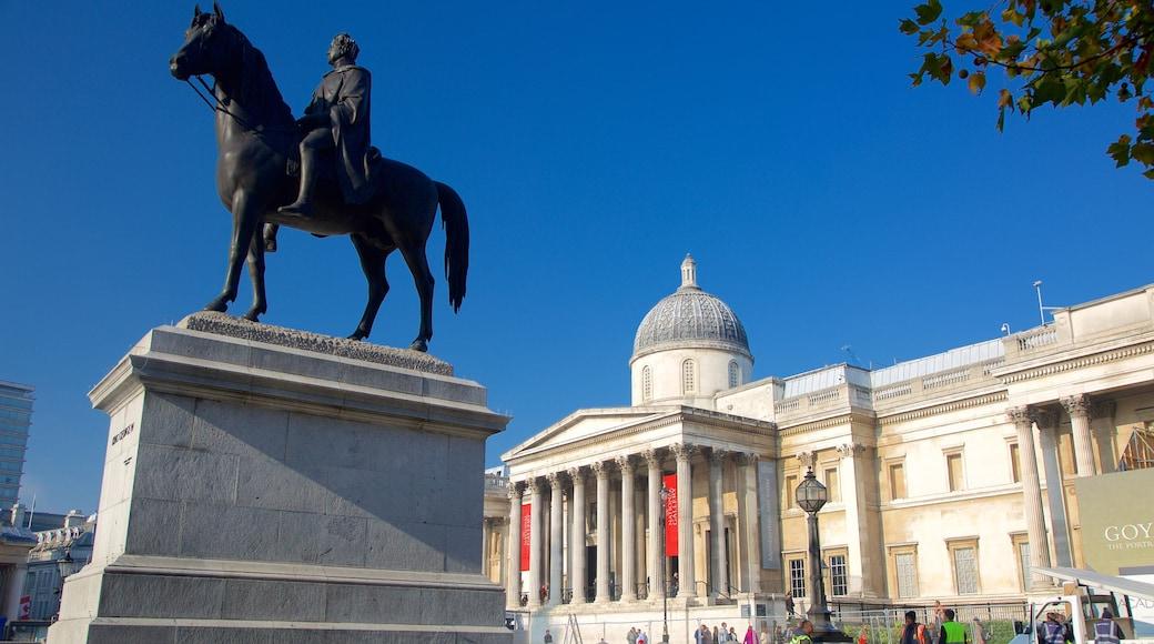 Nasjonalgalleriet som viser statue eller skulptur og historisk arkitektur