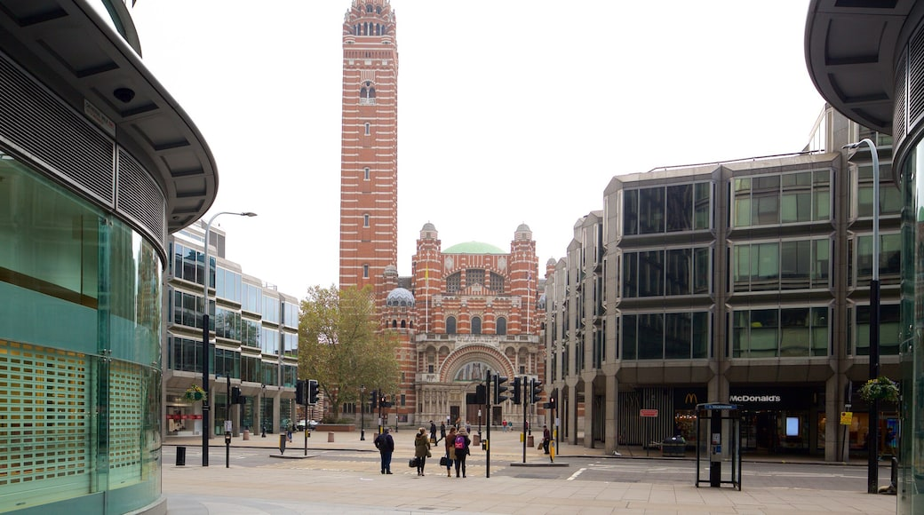 Westminster Cathedral showing a city, a church or cathedral and heritage architecture