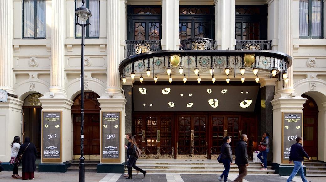 Palladium Theatre mostrando sinalização e cenas de teatro