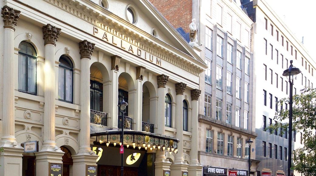 Palladium Theatre caracterizando cenas de teatro, arquitetura de patrimônio e sinalização