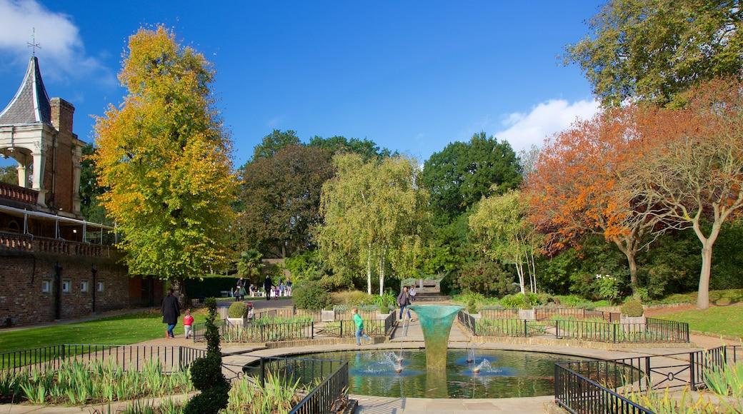 Holland Park mostrando uma fonte e um parque