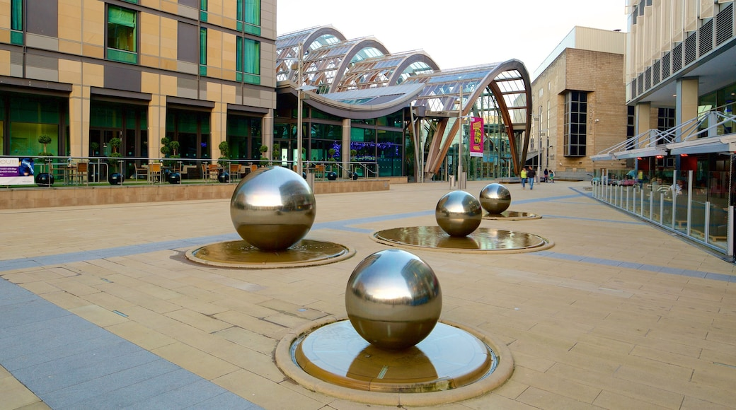 Sheffield Winter Garden featuring modern architecture, a fountain and a square or plaza