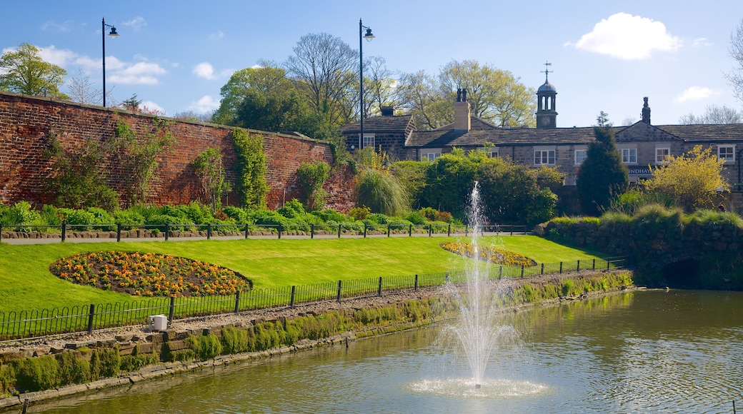 Roundhay Park featuring a garden, a fountain and a river or creek