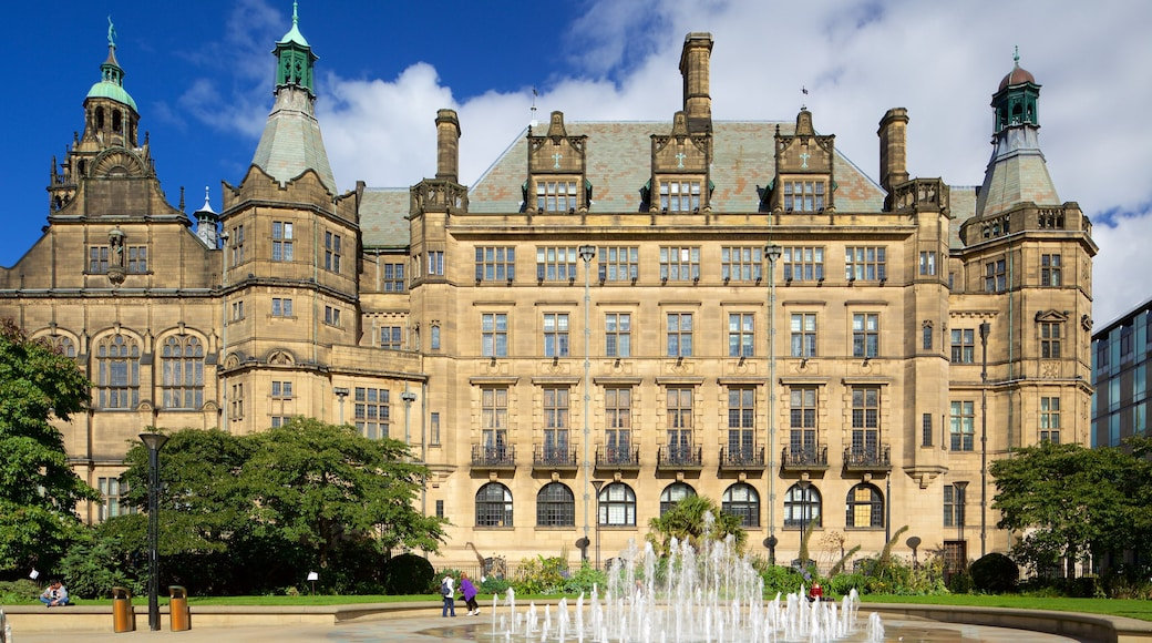 Sheffield Town Hall which includes a fountain, heritage architecture and an administrative building