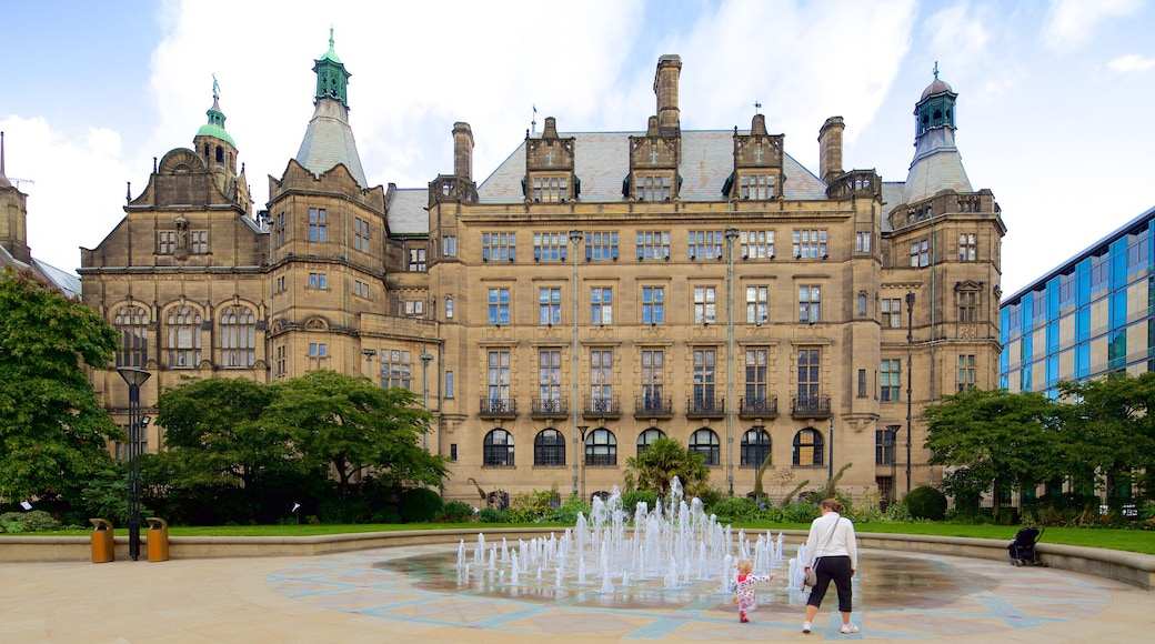 Sheffield Town Hall which includes a fountain, an administrative building and heritage architecture